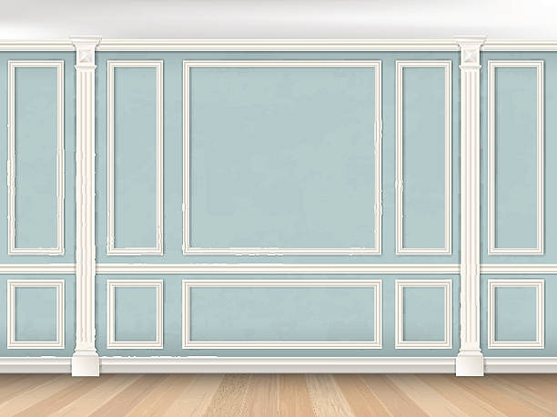 blue wall with pilasters - architecture borders stock illustrations