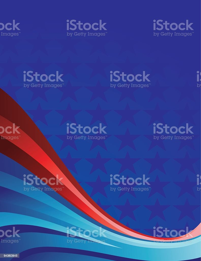 Blue Wallpaper With Blue Stars And Red And Blue Wavy Stripes