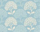 blue wallpaper with hydrangea