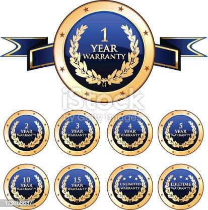 istock Blue Warranty Badge Set 179758637