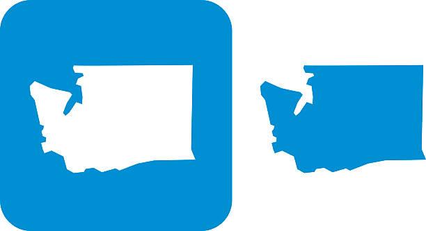 Blue Washington Icons Vector illustration of blue Washington icons. washington state stock illustrations