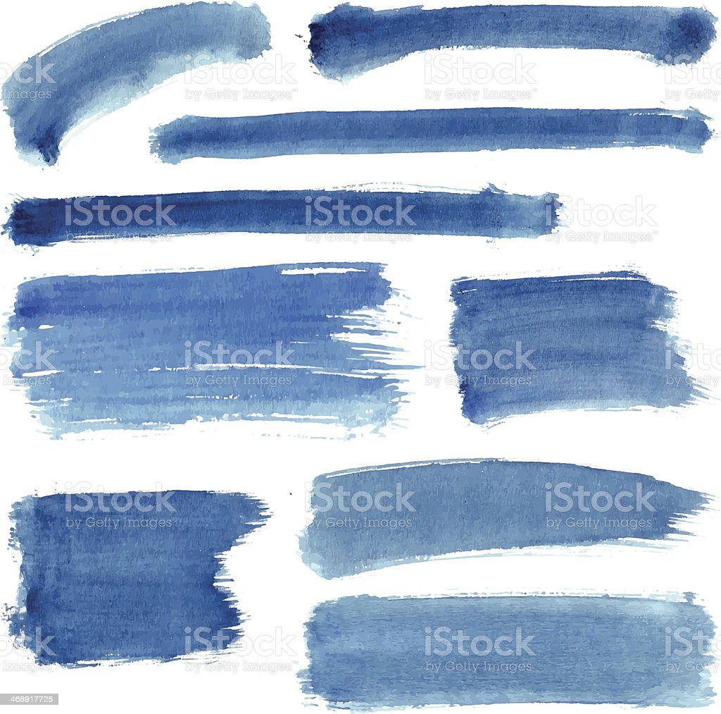 Blue Water Color Stroke Set vector art illustration