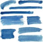Blue Water Color Stroke Set