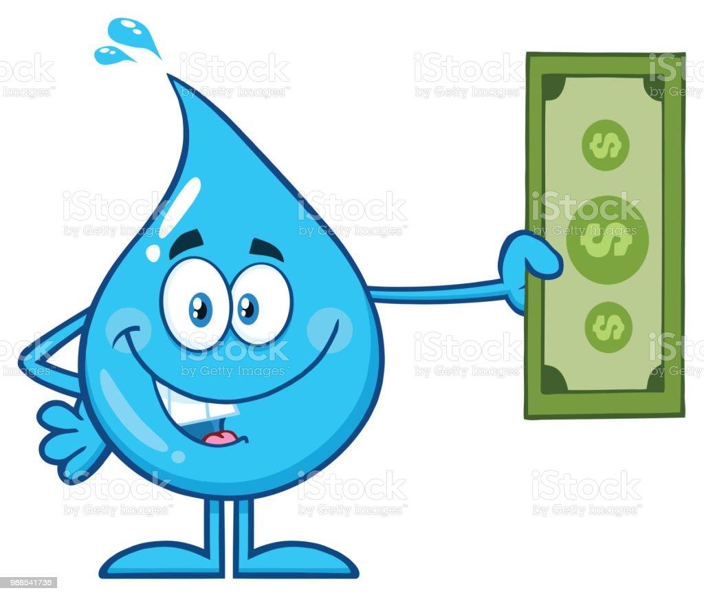Ilustración De Personaje De Mascota De Dibujos Animados Azul Agua