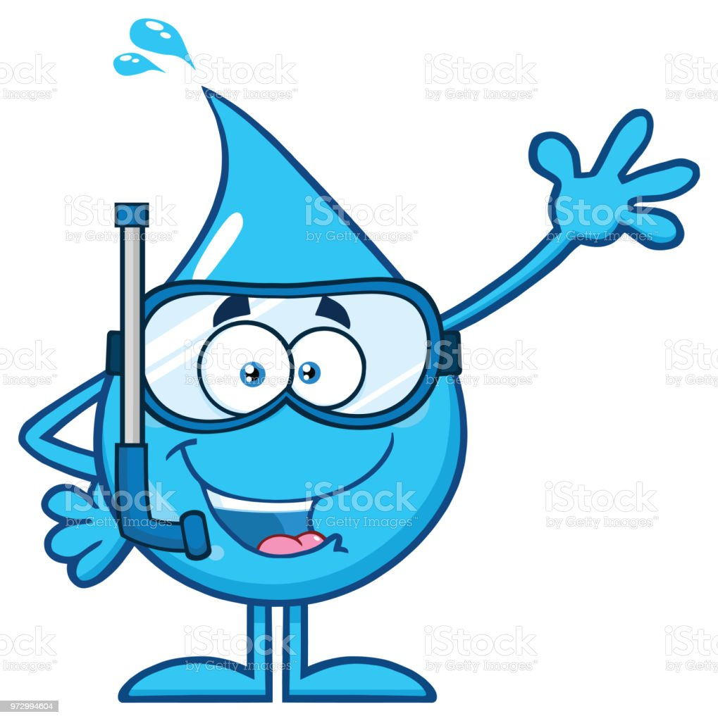 Ilustración De Personaje De Mascota De Dibujos Animados Agua Azul