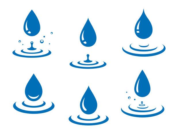 blauen wassertropfen icons set und splash - fallrohr stock-grafiken, -clipart, -cartoons und -symbole