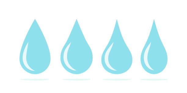 blaue wassertropfen symbol gesetzt. flüssigkeitstropfensymbole - fallrohr stock-grafiken, -clipart, -cartoons und -symbole