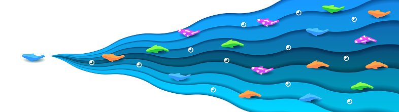Blue Water Paper Cut With Color Fish And Bubble Background Nature Vector