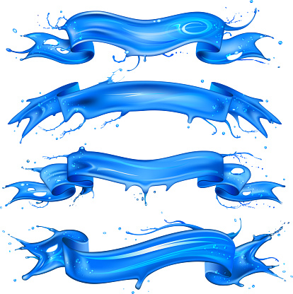 Blue water ribbons set