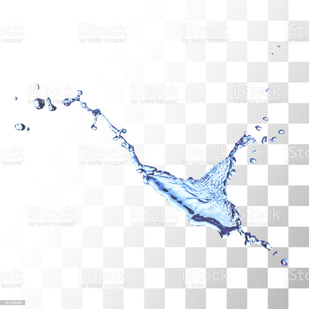 Blue water splash isolated on white vector art illustration