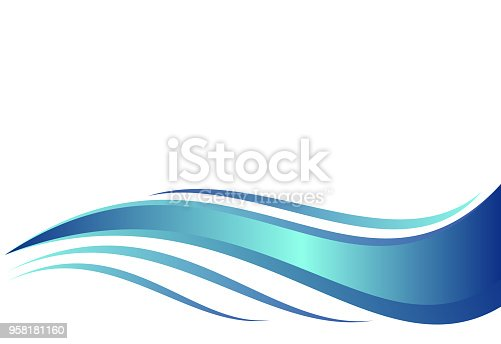 istock Blue water wave, abstract vector illustration. 958181160