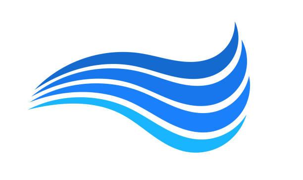 ilustrações, clipart, desenhos animados e ícones de símbolo azul da onda de água. - escorrer