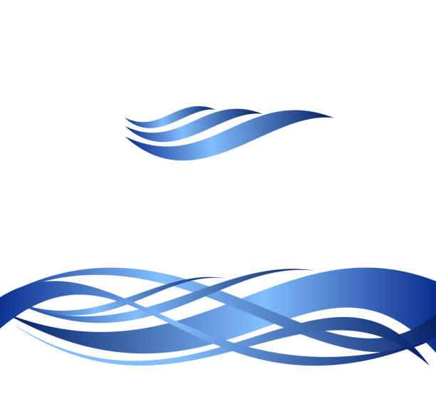 blue water waves, set of abstract vector illustrations. - flowing stock illustrations