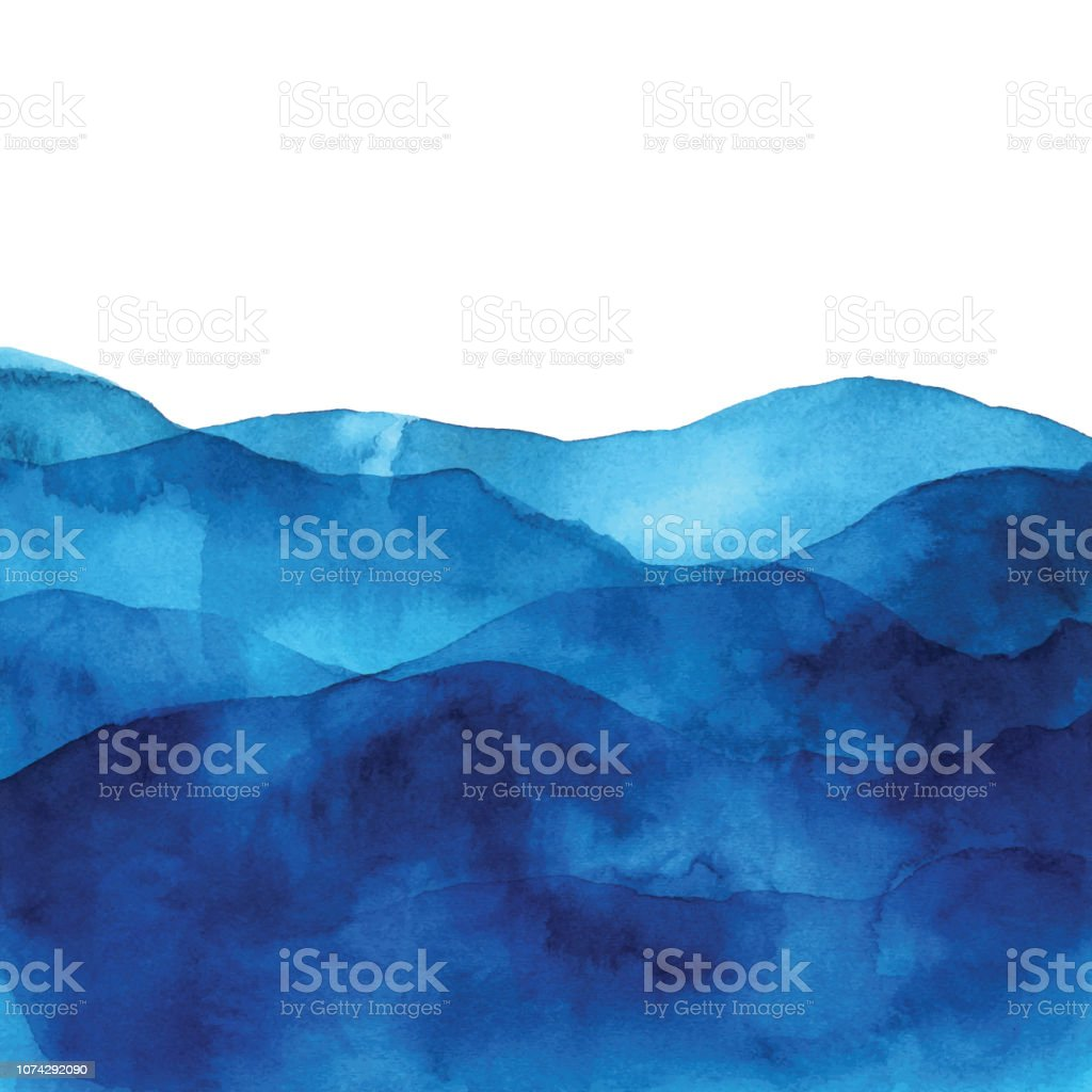 Blue Watercolor Background With Waves vector art illustration