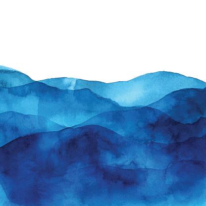 파도 함께 블루 수채화 배경 0명에 대한 스톡 벡터 아트 및 기타 이미지