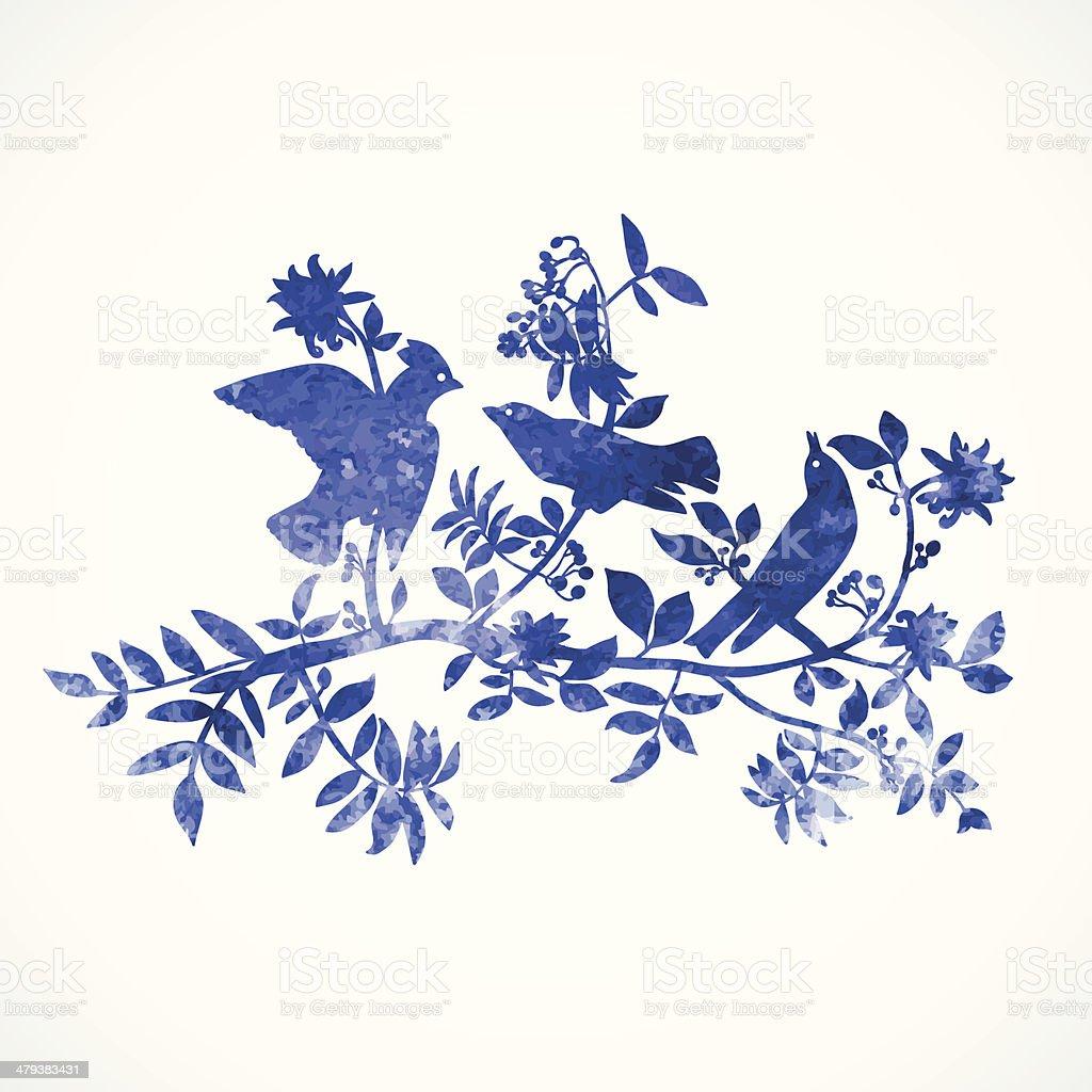 Blue watercolor birds vector art illustration