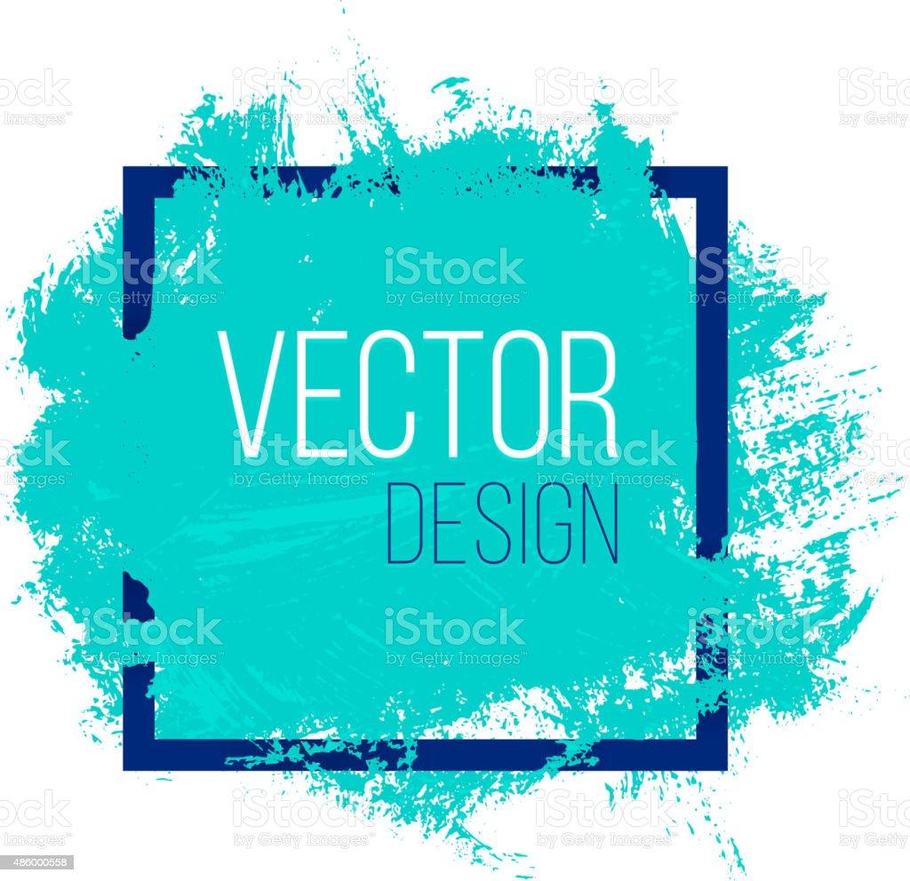 Azul acuarela Blot en bastidor cuadrado - ilustración de arte vectorial