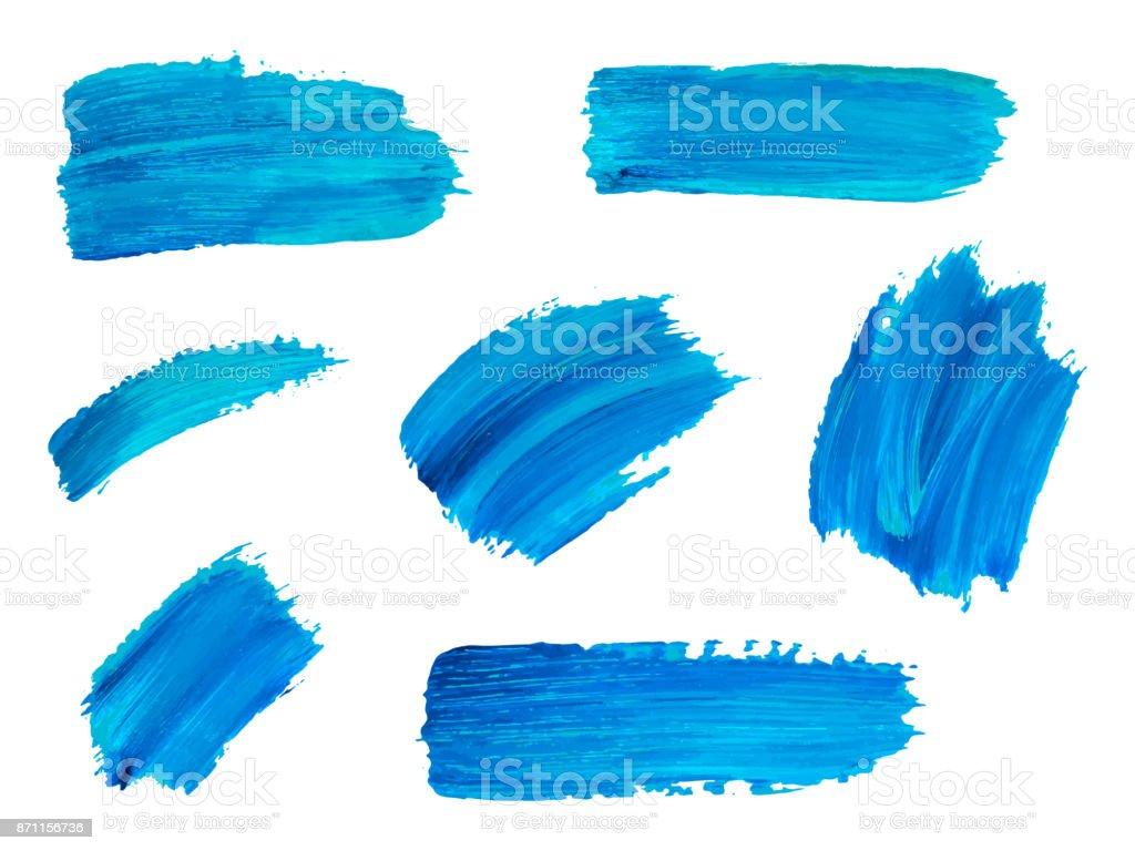 Blauen Aquarell Pinselstriche. Abstrakte isoliert handgezeichnete Vektorobjekte für Design, Platz für Text. Lizenzfreies blauen aquarell pinselstriche abstrakte isoliert handgezeichnete vektorobjekte für design platz für text stock vektor art und mehr bilder von abstrakt