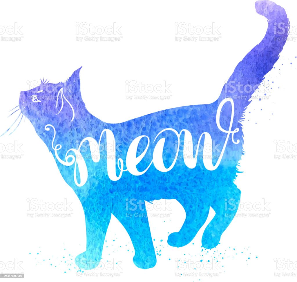 Blue watercolor cat vector art illustration