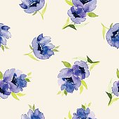 Blue watercolor flowers seamless pattern. Set for fabric, wallpaper, packaging.