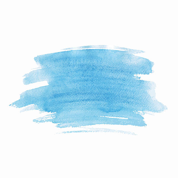 Blue watercolor isolated spot on white background. Hand drawn blue illustration. vector art illustration