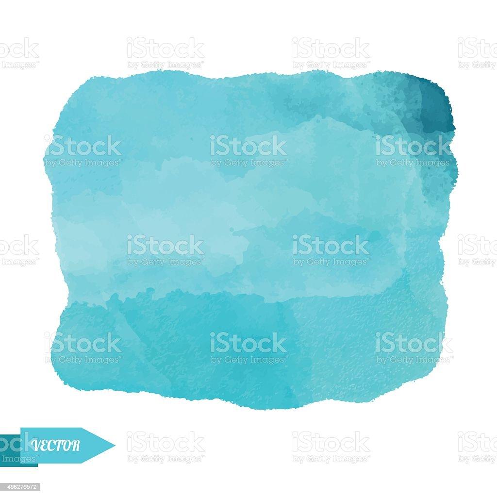Blue watercolor paint stain block  vector art illustration