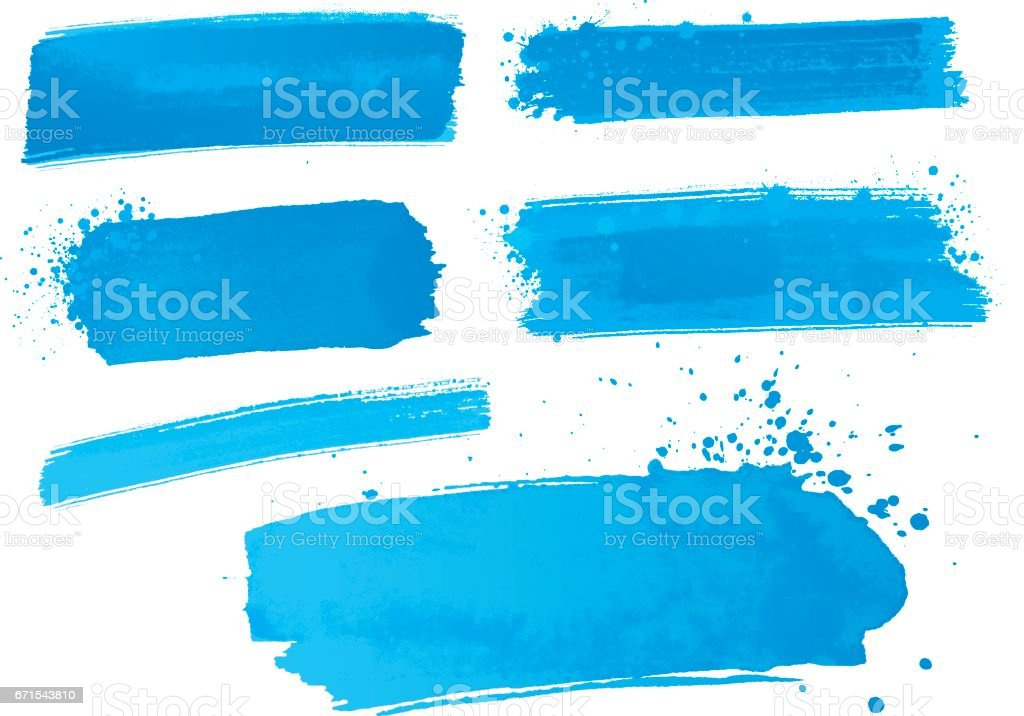 blue watercolor paint strokes vector art illustration