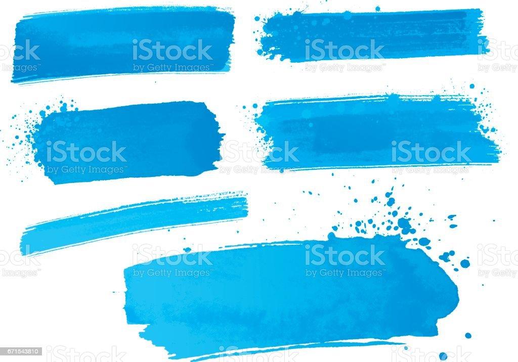 blue watercolor paint strokes vector art illustration