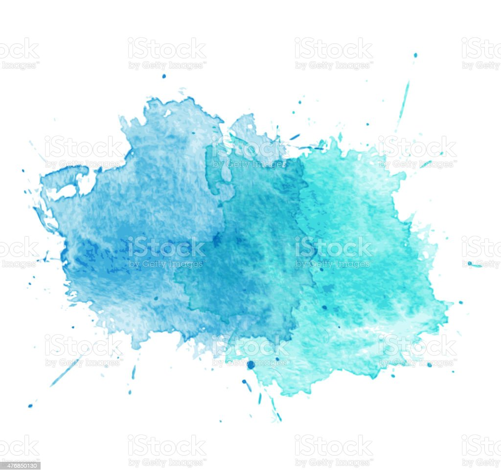 Blue Watercolor splatters. Vector vector art illustration