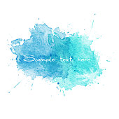 Blue Watercolor splatters. Vector