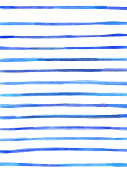 Blue Watercolor Stripes Pattern Background. Coastal Summer Concept. Design Element for Greeting and Invitation Cards and Labels, Marketing, Business Card, Abstract Background.