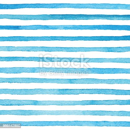 istock Blue Watercolor Stripes Pattern 986442850