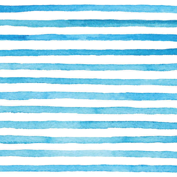 blue watercolor stripes pattern - pasiasty stock illustrations