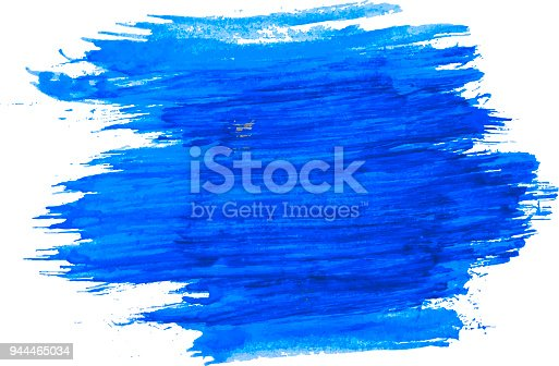 944453740 istock photo Blue watercolor texture paint stain brush stroke isolated on white background. 944465034