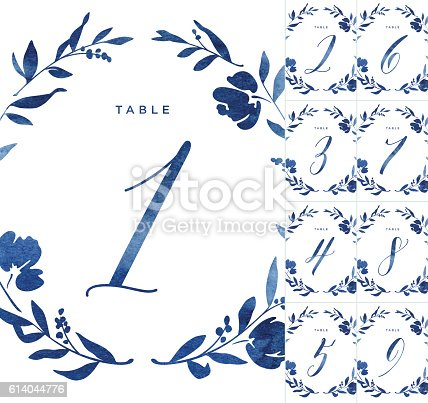 istock Blue Watercolour Wedding Table Numbers 614044776