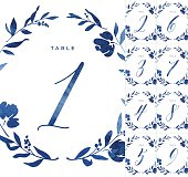 Beautiful blue watercolour table numbers, perfect for your big day or special occasion. Included is a set of nine table numbers, each one surrounded with an elegant floral border. Within the additional eps10 file, the numbers are split onto their own separate artboards, with solid colour versions of the illustrations also included on a separate layer. Within the zip file provided, there is also a high resolution pdf of the full set of print ready table numbers (size A6 with 3mm bleed in CMYK colour space). Alternatively, all of these vector illustrations can easily be coloured to suit your needs and scaled to any size without loss of quality.