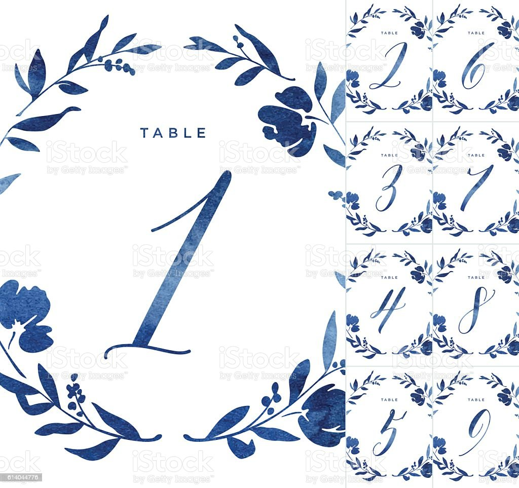 Blue Watercolour Wedding Table Numbers - ilustración de arte vectorial