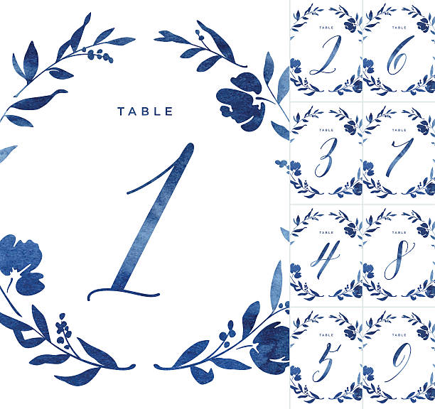 ilustraciones, imágenes clip art, dibujos animados e iconos de stock de blue watercolour wedding table numbers - marcos florales