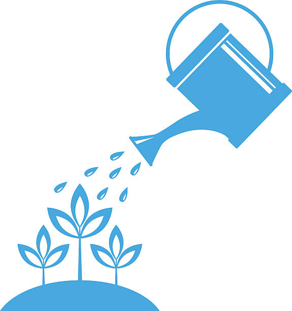 blue watering can vector art illustration