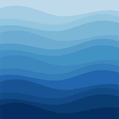 Blue wave abstract background in flat vector design style