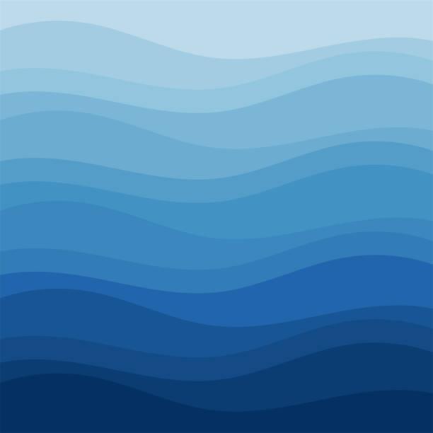 평면 벡터 디자인 스타일에서 블루 웨이브 초록 배경 - water stock illustrations