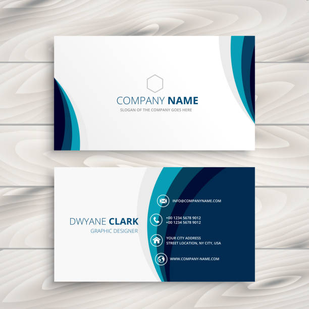 blue wave business card design template vector design illustration - business cards templates stock illustrations