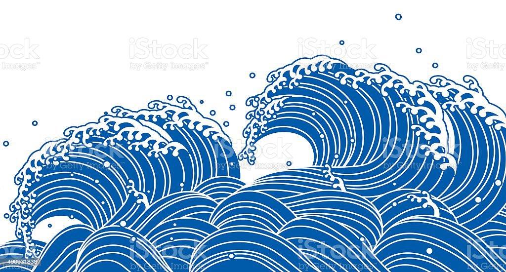 Blue Wave Japanese Style stock vector art 490931838   iStock