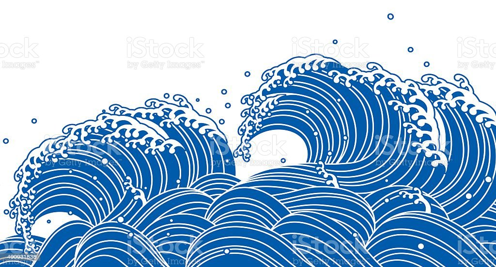 Blue Wave. Japanese style vector art illustration