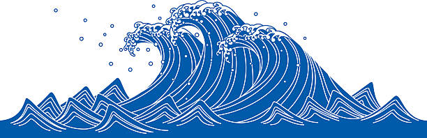 blue wave. japanese style - tidal wave stock illustrations, clip art, cartoons, & icons