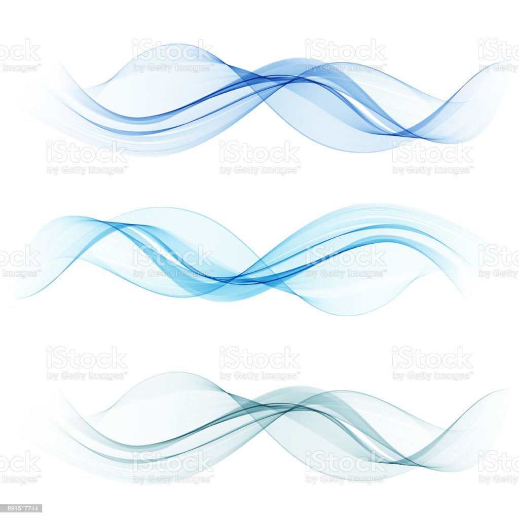 Blue wave set.Vector abstract background wave.Transparent lines vector art illustration