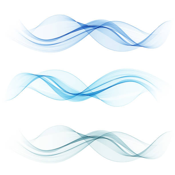 Blue wave set.Vector abstract background wave.Transparent lines vector art illustration