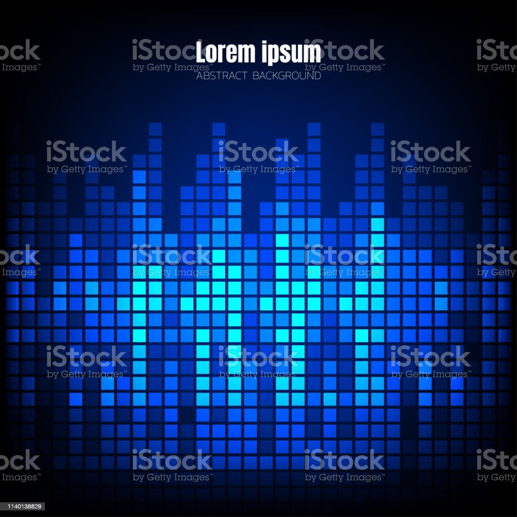 Blue Wave Sound Pixel Equalizer Background Square Geometric