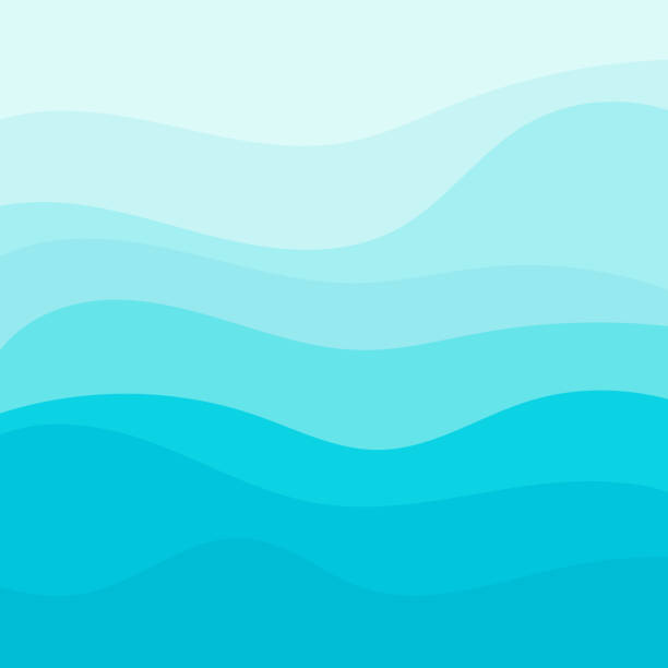 Blue wave vector background Blue wave vector background tranquil scene stock illustrations