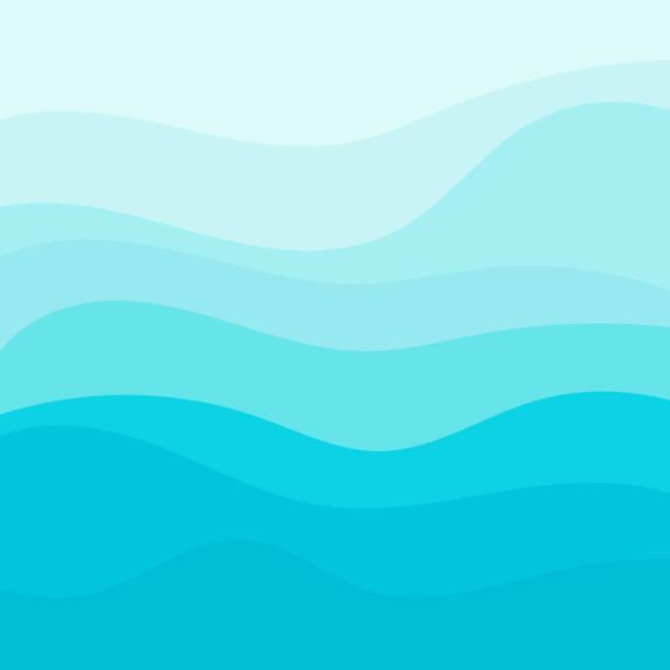 bildbanksillustrationer, clip art samt tecknat material och ikoner med blue wave vector bakgrund - stillsam scen